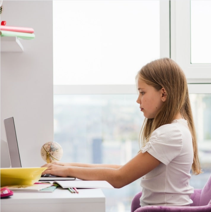proper posture for kids learning from home