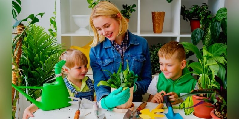 mother build strong bond with kids through gardening