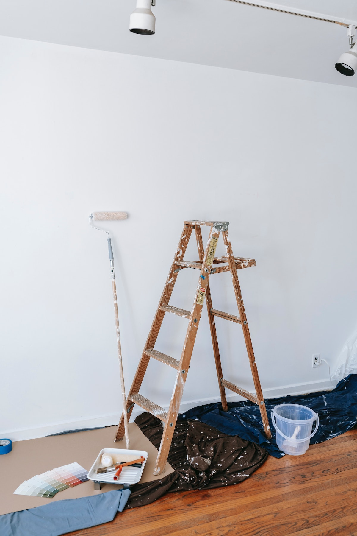 preparing the house to be painted with kids